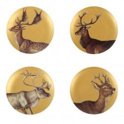 GOLDEN DEER SET OF 4 PLATES