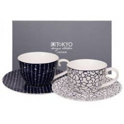 SET OF 2 CUPS WITH PLATES 14781