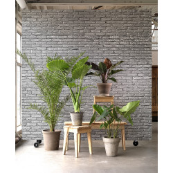 WALLPAPER SILVER GREY BRICK